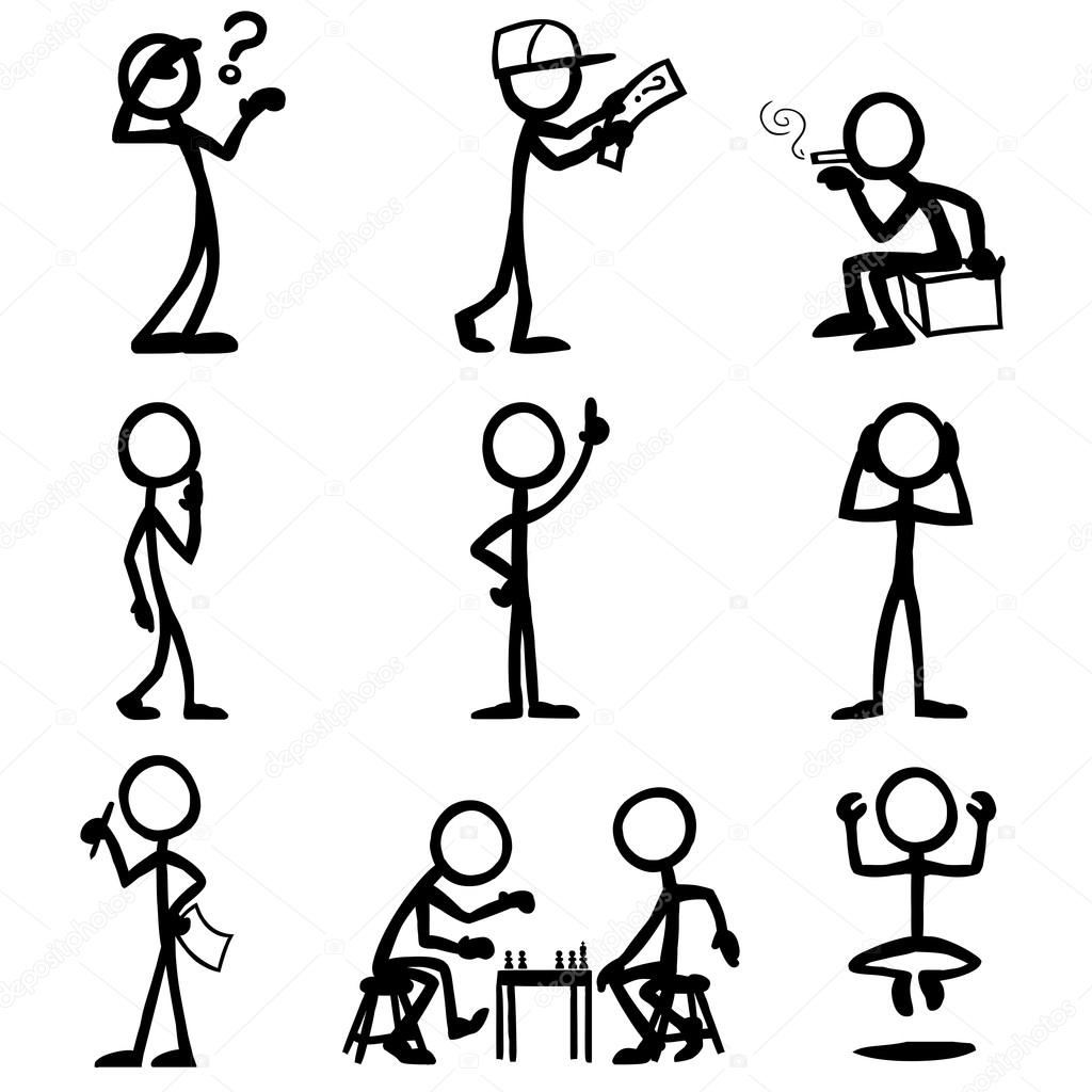 set of stick figures, thinking people