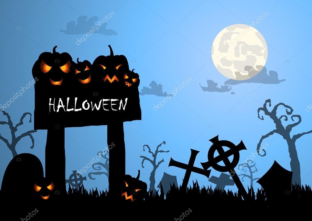 vector halloween background and wood sign stock vector anueing rh depositphotos com Halloween Moon Vector Halloween Witch Vector