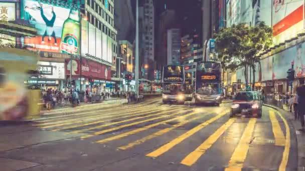 Noční provoz Timelapse v Hong Kongu