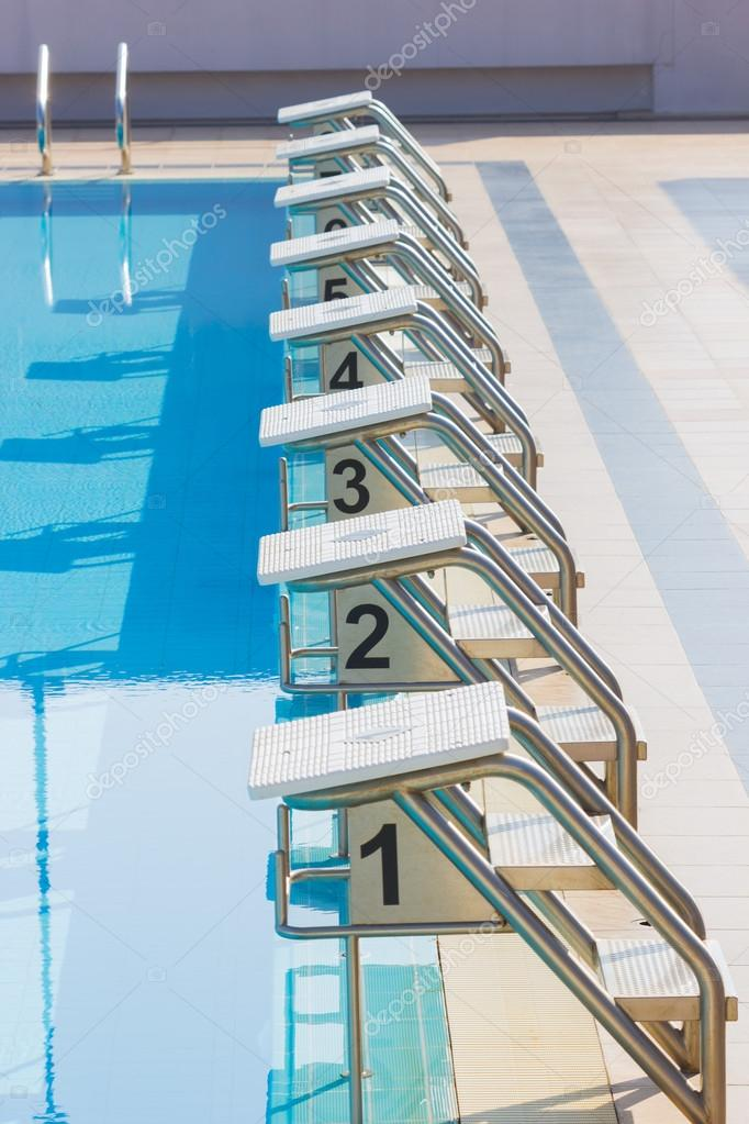 A Row Of Swimming Pool Starting Blocks At The pool Edge ...