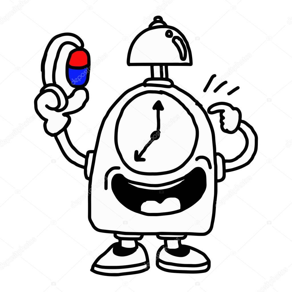 Illustration Vector Hand Drawn Of A Clock Holding Capsule And