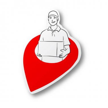Black line hand drawn of smiling delivery man holding box in red location icon on cut paper with shadow isolated on white background icon