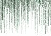 Fotografie matice kódu na bílém pozadí