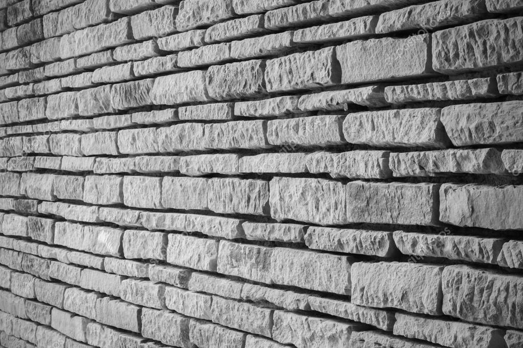 perspective of old brick wall, black and white