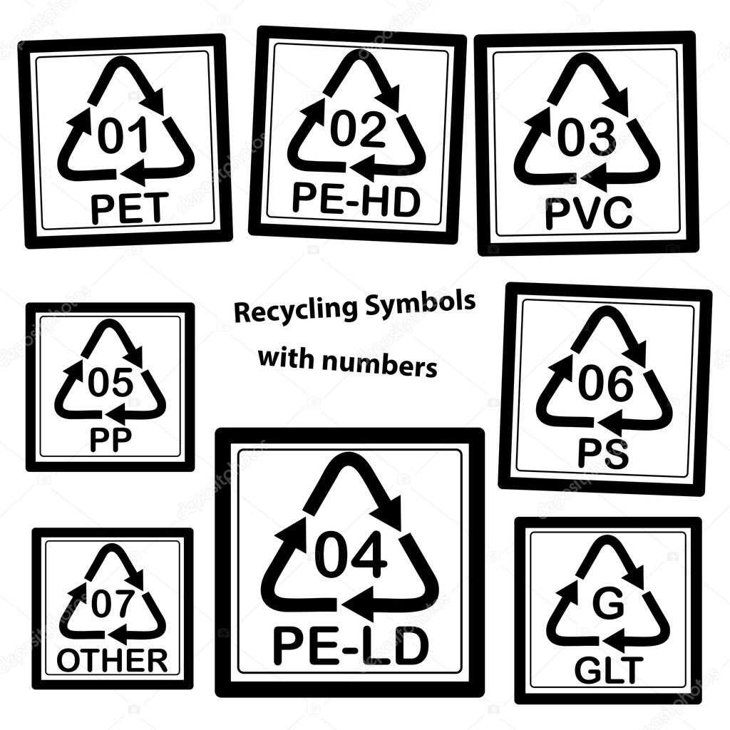 Recycling Symbols With Numbers For Plastic Stock Vector