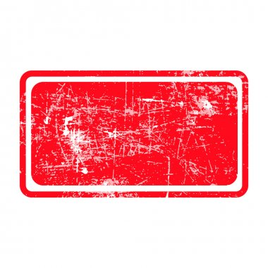 red rectangular grunge stamp with blank siolated on white backgr