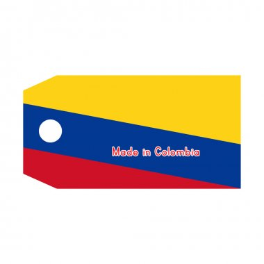 vector illustration of Colombia flag on price tag with word Made
