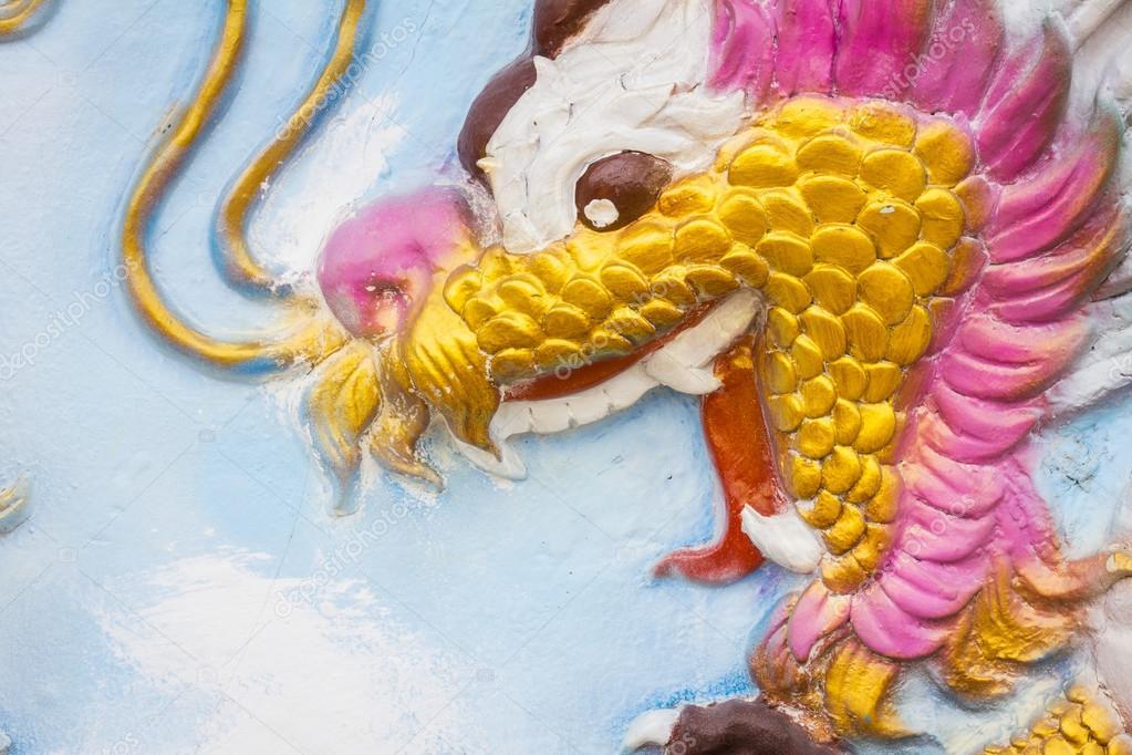 closeup Chinese Dragon at the wall of China temple — Stock Photo ...