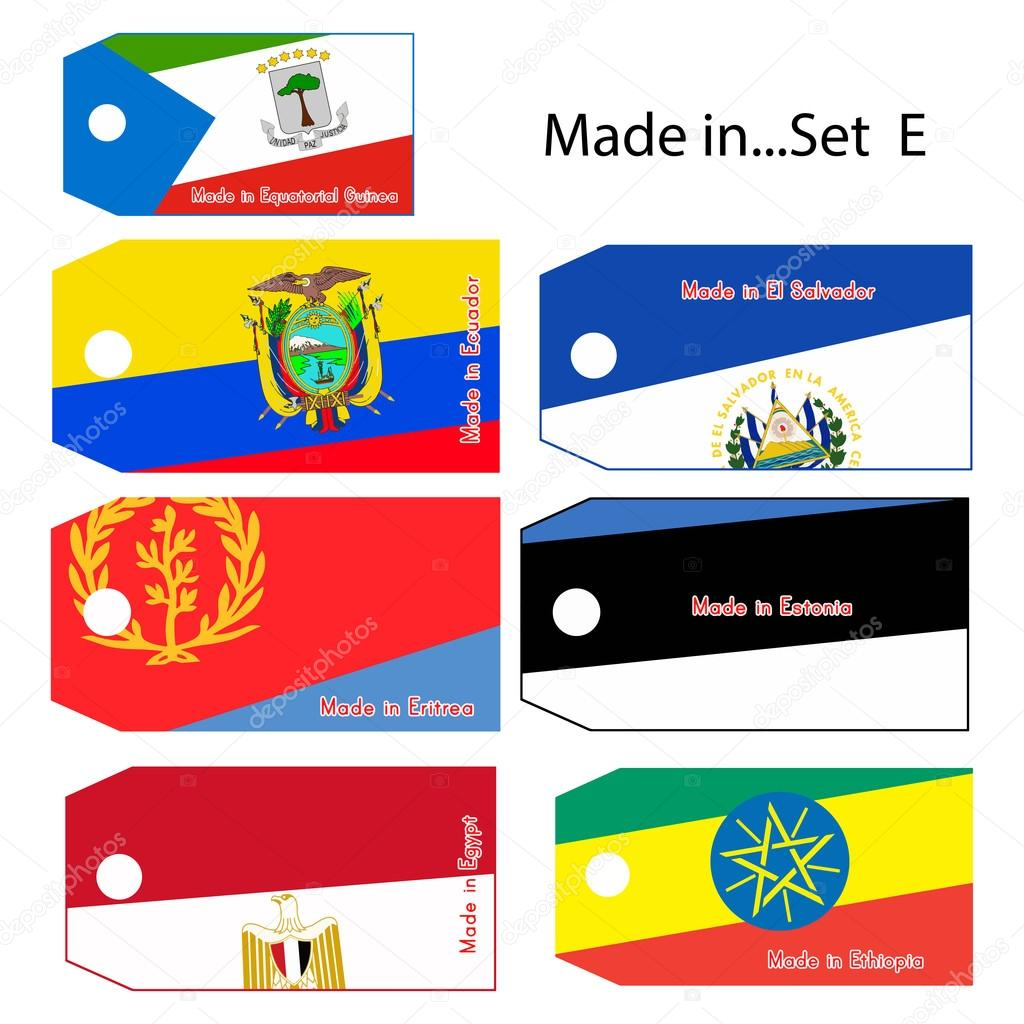 illustration vector price tag with word Made in country's name s