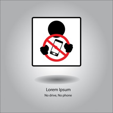 illustration vector icon stop phone when driving in car