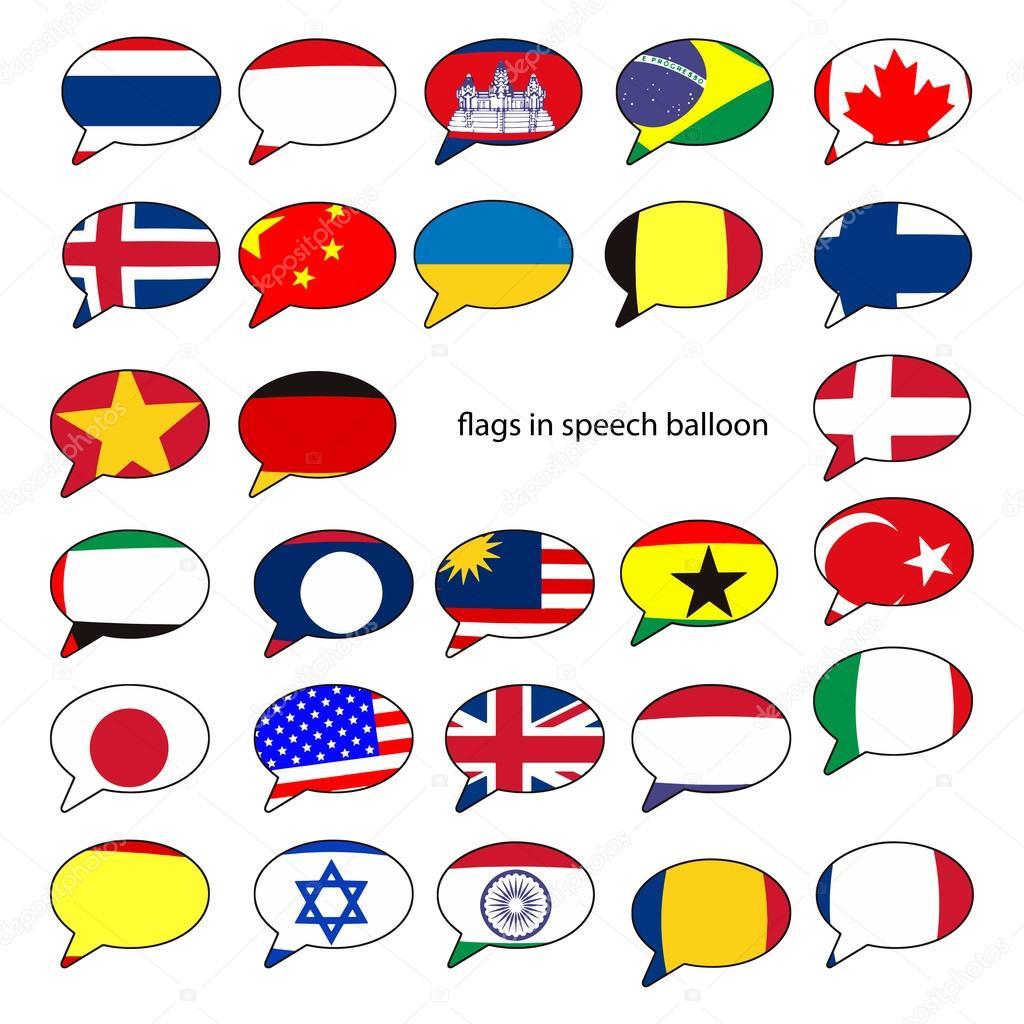 balões de fala com o desenho das bandeiras de países populares