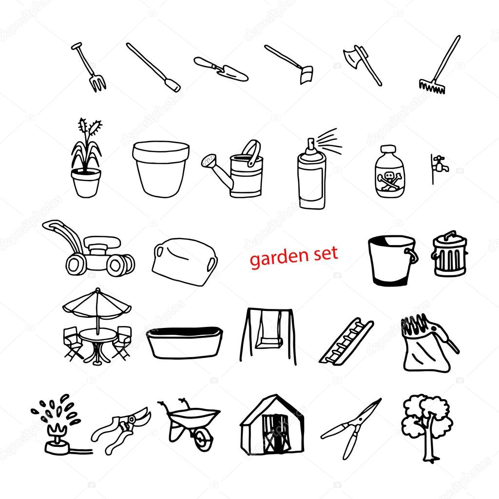 illustration vector doodles hand drawn objects in backyard garde