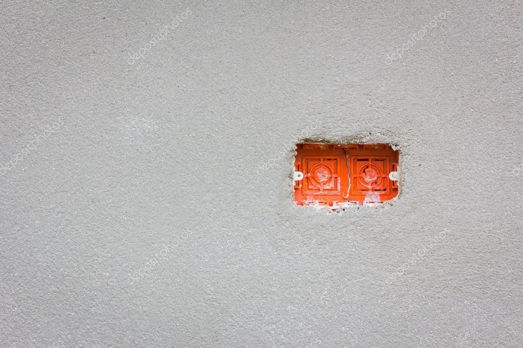 leere rote Kabel Box für Strom Steckdose Installation mit copyspace ...