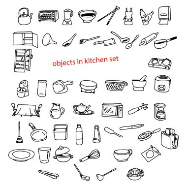 illustration vector doodles hand drawn objects in kitchen.