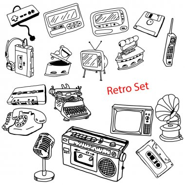 illustration vector doodles hand drawn set of retro-styled objec