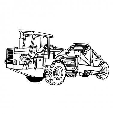illustration vector doodles hand drawn of wheel tractor scraper