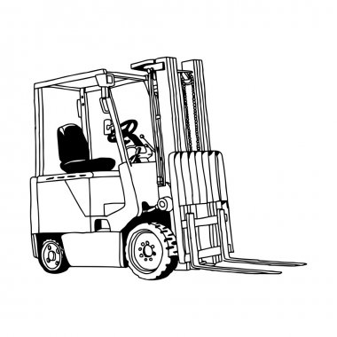 illustration vector hand drawn doodle of Forklift truck isolated