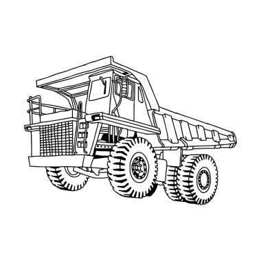 illustration vector hand drawn doodle of dump truck isolated on