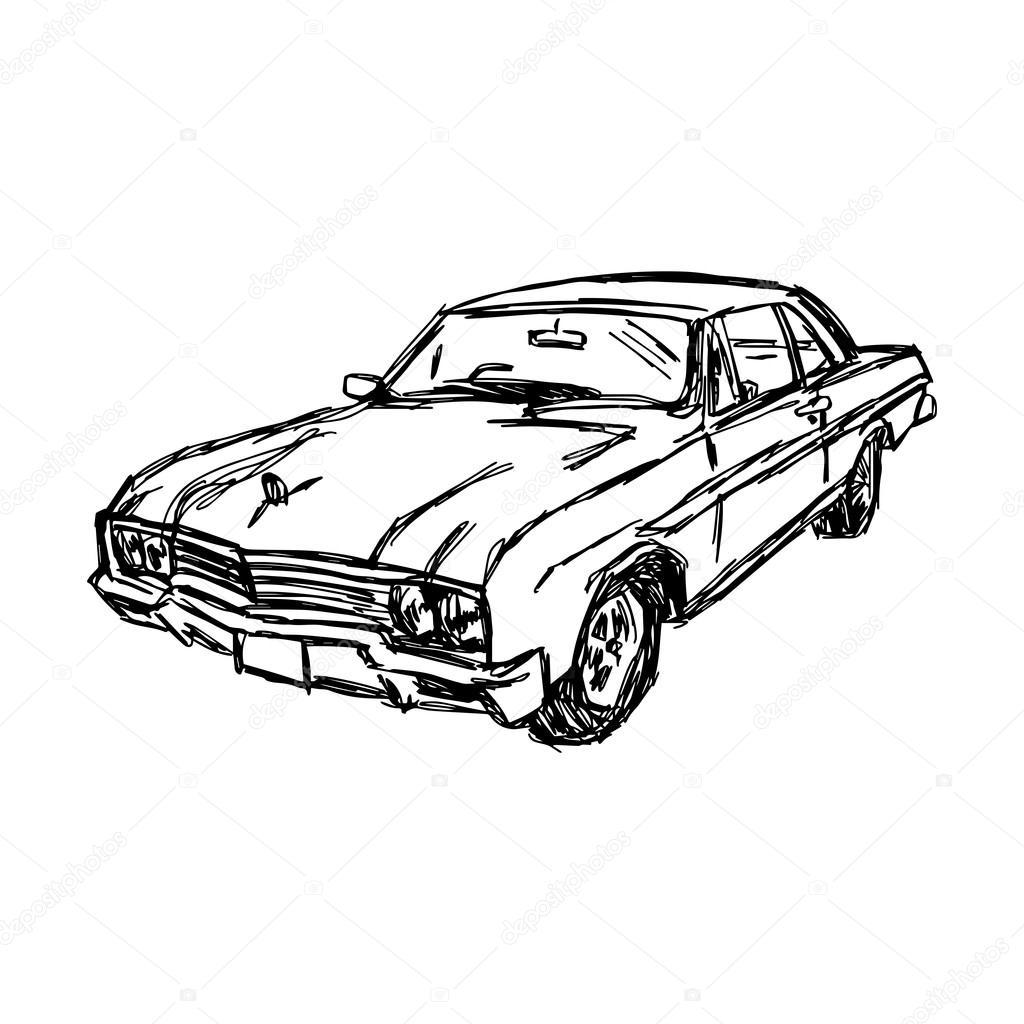 Abbildung vector Gekritzel Hand gezeichnete Skizze des Autos ...