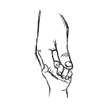 illustration vector doodle hand drawn sketch of parent holds the