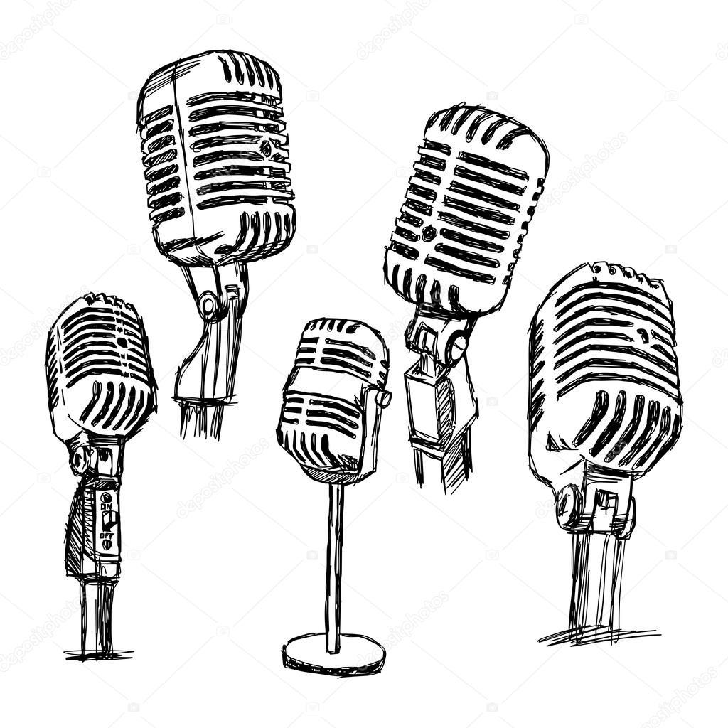 Ilustracion Vector Doodle Dibujado A Mano Retro Microfono Set