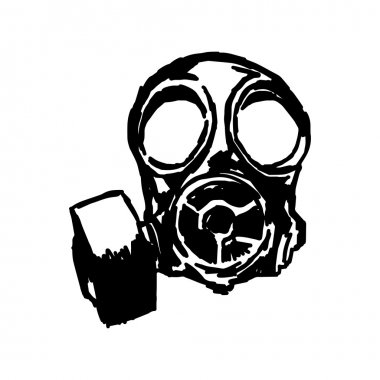 illustration vector doodle hand drawn of sketch Gas mask.