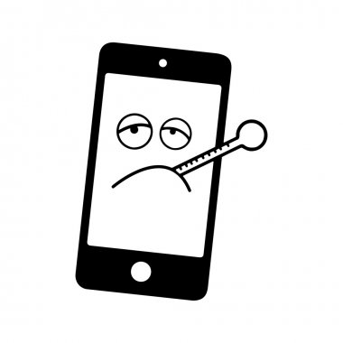 illustration vector black and white sick smart phone with thermo