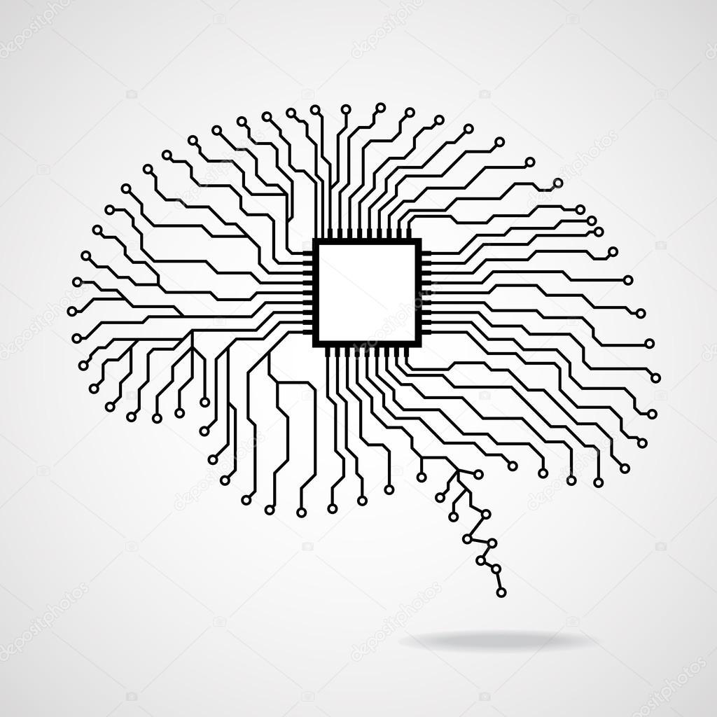 Brain Cpu Circuit Board Vector Illustration Eps 10 Stock Royalty Free Image