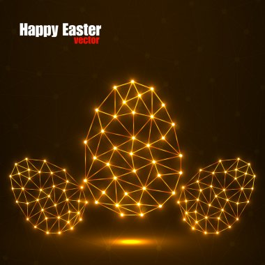 Abstract glowing Easter eggs polygonal shape, network connections, vector illustration