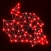 Abstract polygonal Canada map with glowing dots and lines, network connections, vector illustration, eps 10