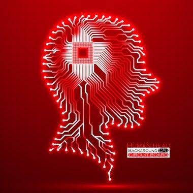 Neon human head. Cpu. Circuit board. Vector illustration. Eps 10