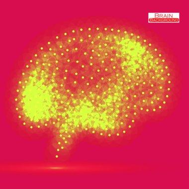 Neon brain. Vector illustration. Eps 10