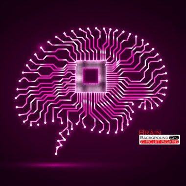 Neon brain. Cpu. Circuit board. Vector illustration. Eps 10