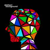 Human head from 3d geometric colorful triangles. Abstract background illustration. Eps 10