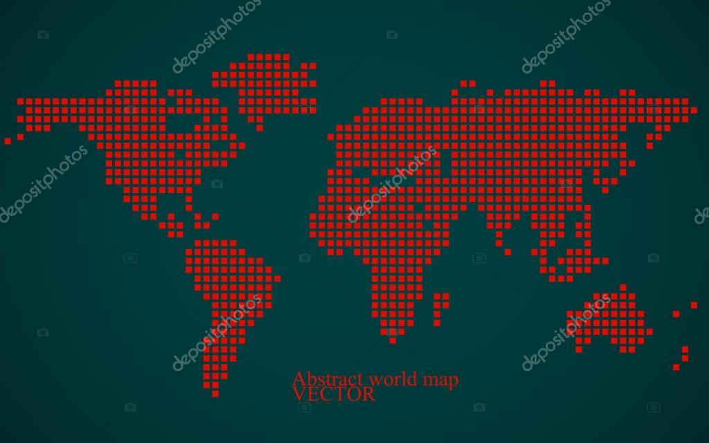 Abstract world map. Colorful pixel background. Vector illustration. Eps 10