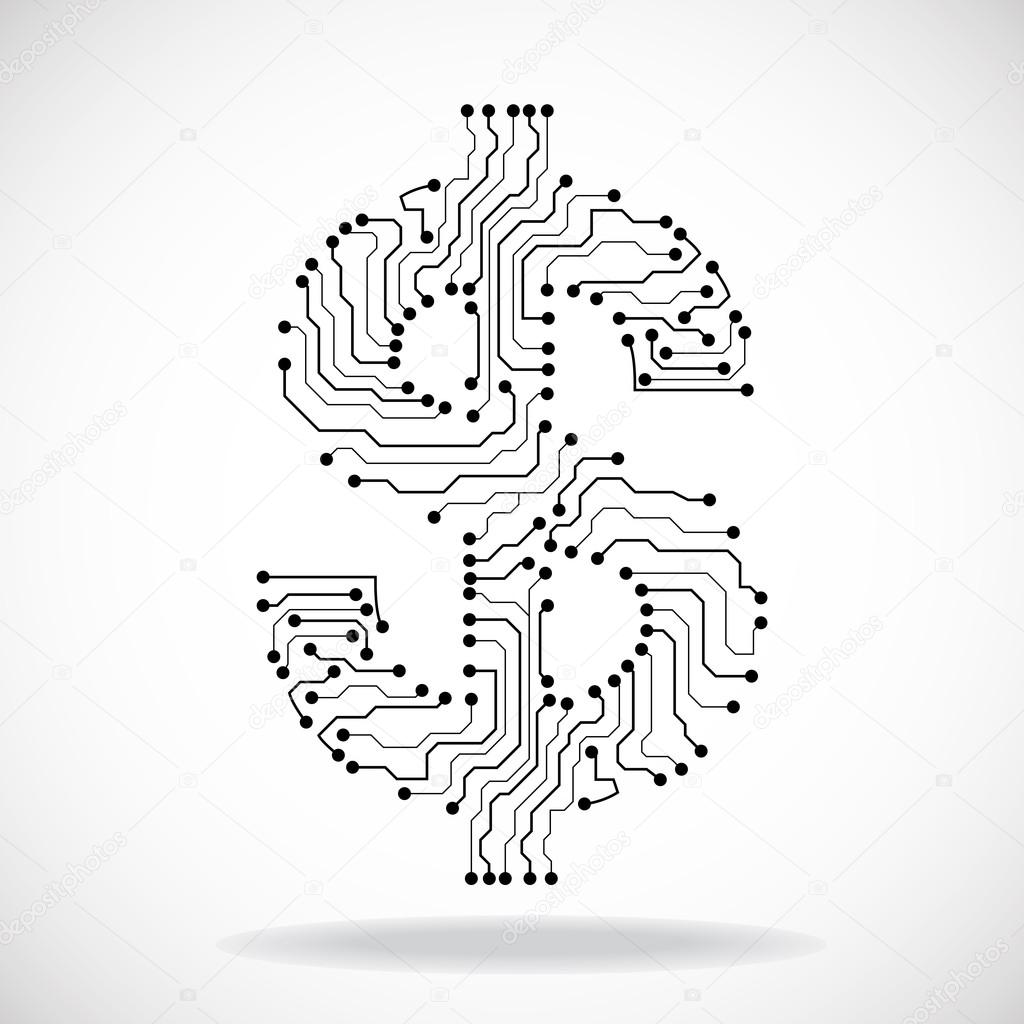 Symbol Of Dollar Circuit Board Vector Illustration Eps 10 Stock Diagram Symbols By Vladystock