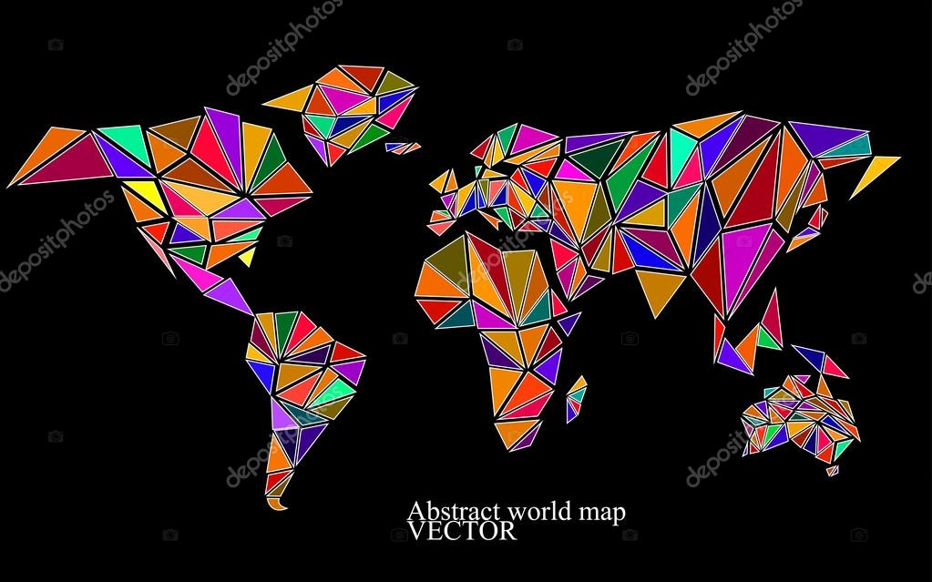 Abstract world map background in polygonal style. Colorful vector illustration. Eps 10