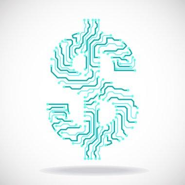 Symbol of dollar. Circuit board. Vector illustration. Eps 10