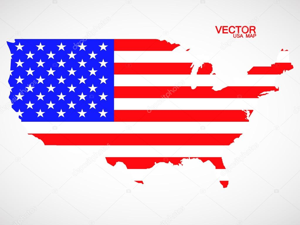 map of united states of america with flag vector ilration eps 10 stock