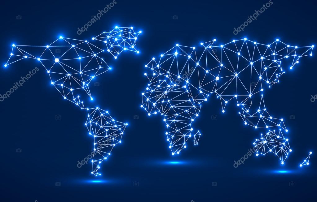 Abstract polygonal world map with glowing dots and lines network abstract polygonal world map with glowing dots and lines network connections vector illustration eps 10 vector by vladystock publicscrutiny Gallery