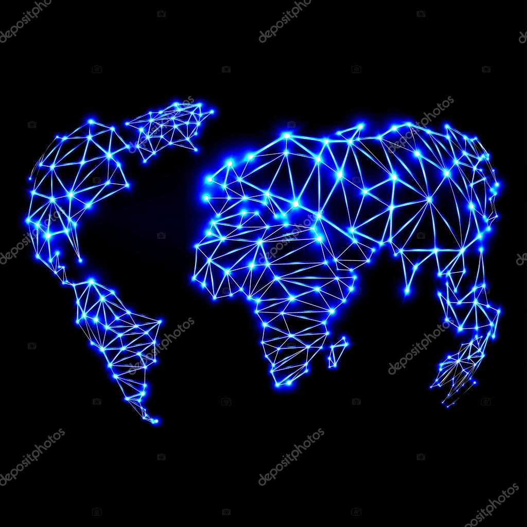 Abstract polygonal world map with glowing dots and lines stock abstract polygonal world map with glowing dots and lines stock vector gumiabroncs Images