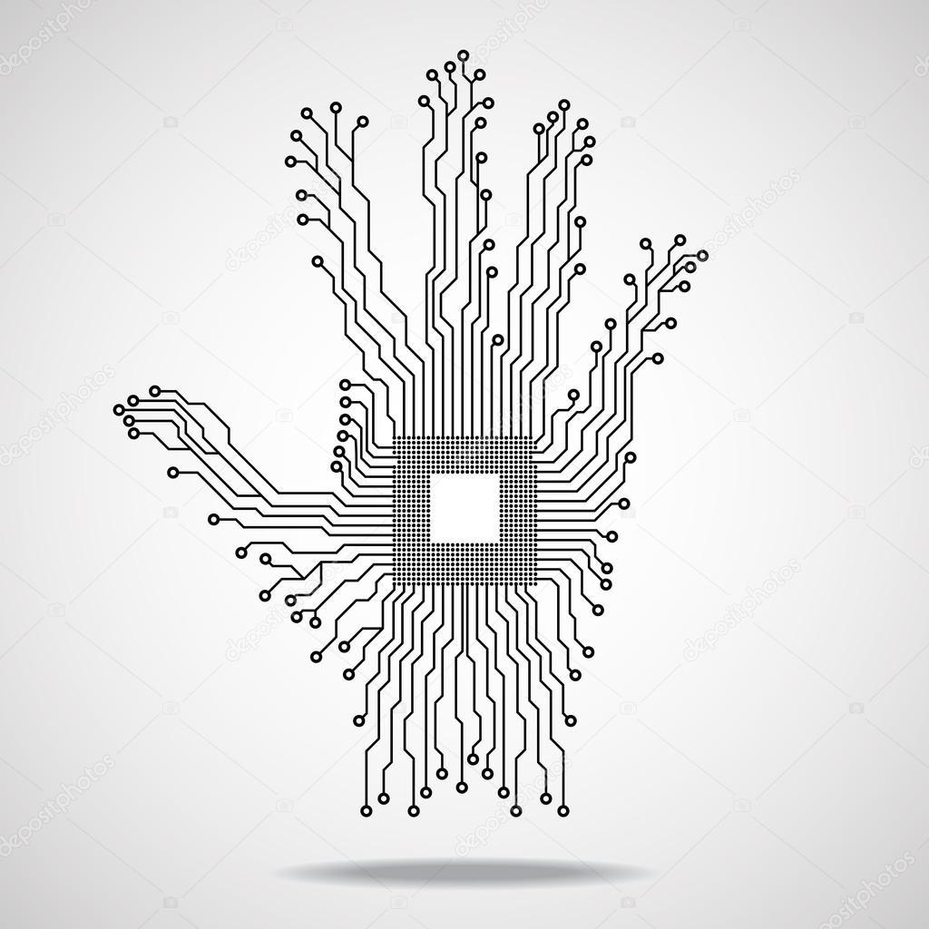 Hand. Cpu. Circuit board. Vector illustration. Eps 10 — Stock Vector ...