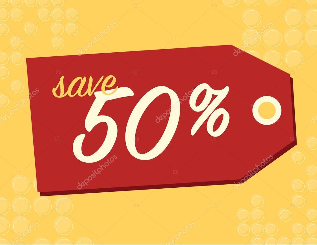 bbfdbdfc491357 Verkauf-Schild mit 50 Prozent Rabatt auf Originalpreis — Vektor von ...
