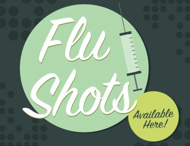Flu shots available here with syringe poster