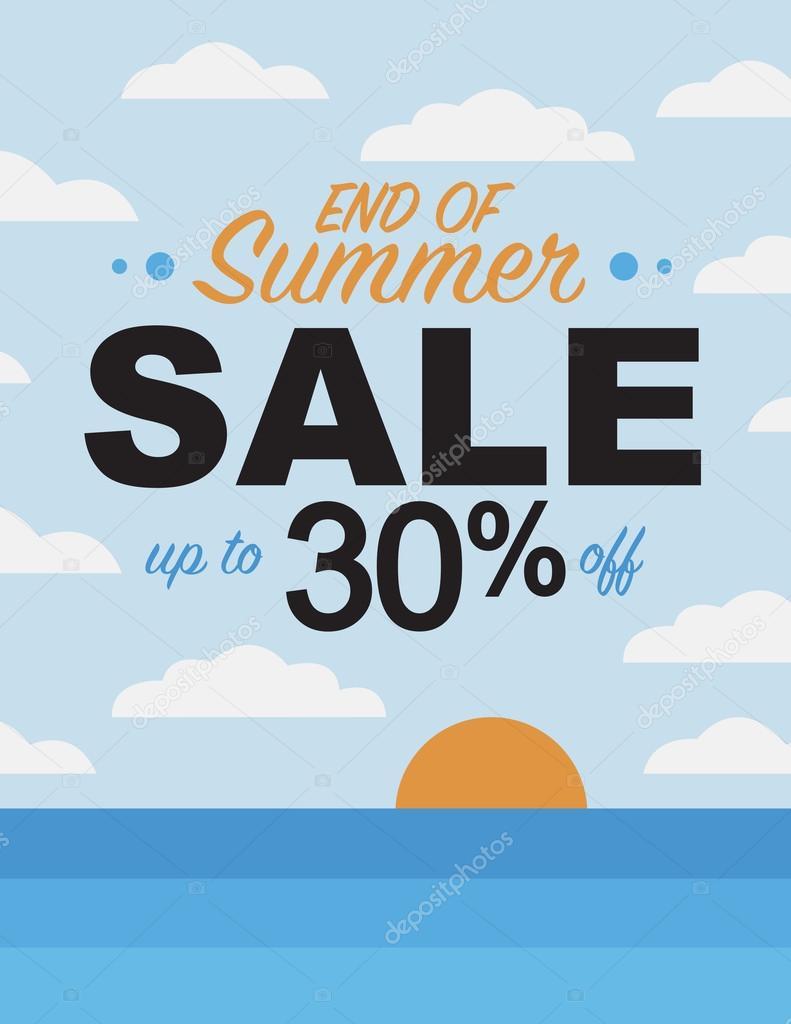 5f9741465c6669 Einde van de zomer sale tot 30% korting op poster — Stockvector ...