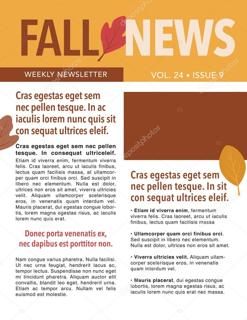 fall newsletter template stock vector rmackayphoto 99210928