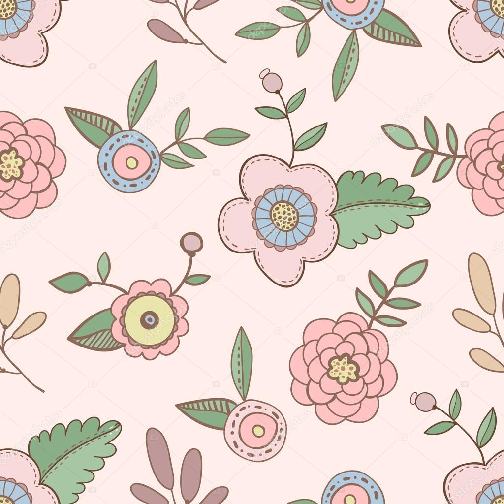 Cute hand drawn flowers pattern
