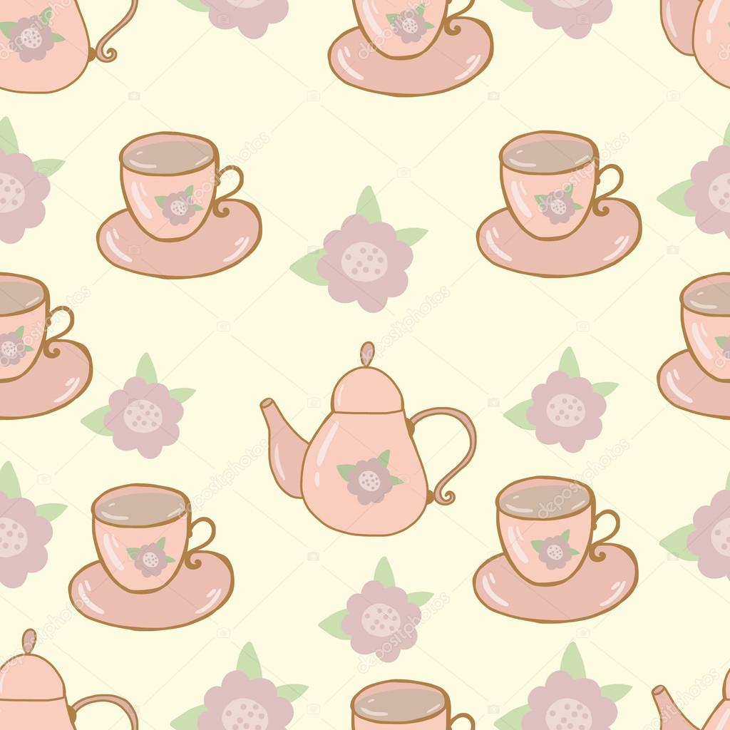 Seamless nature pattern teapot and cup shabby chic
