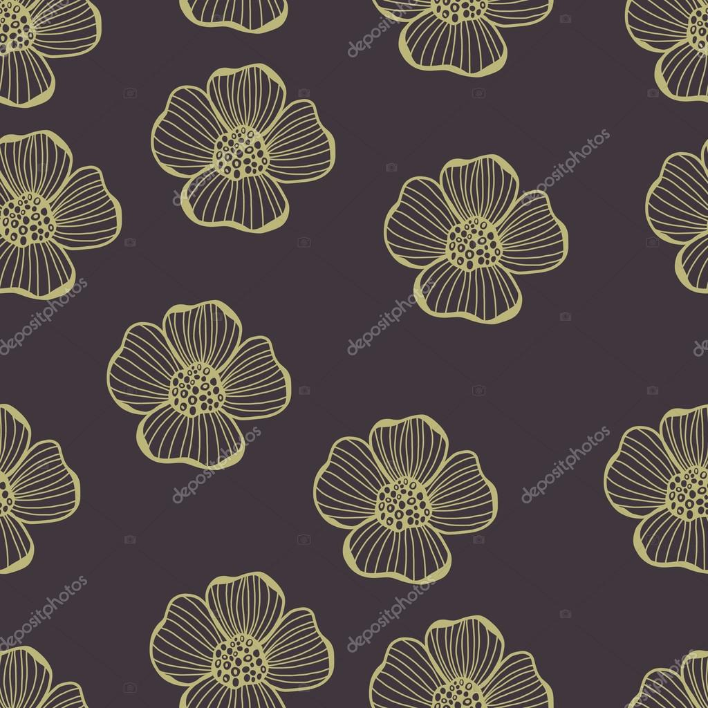 Pastel hand drawing flowers seamless pattern.