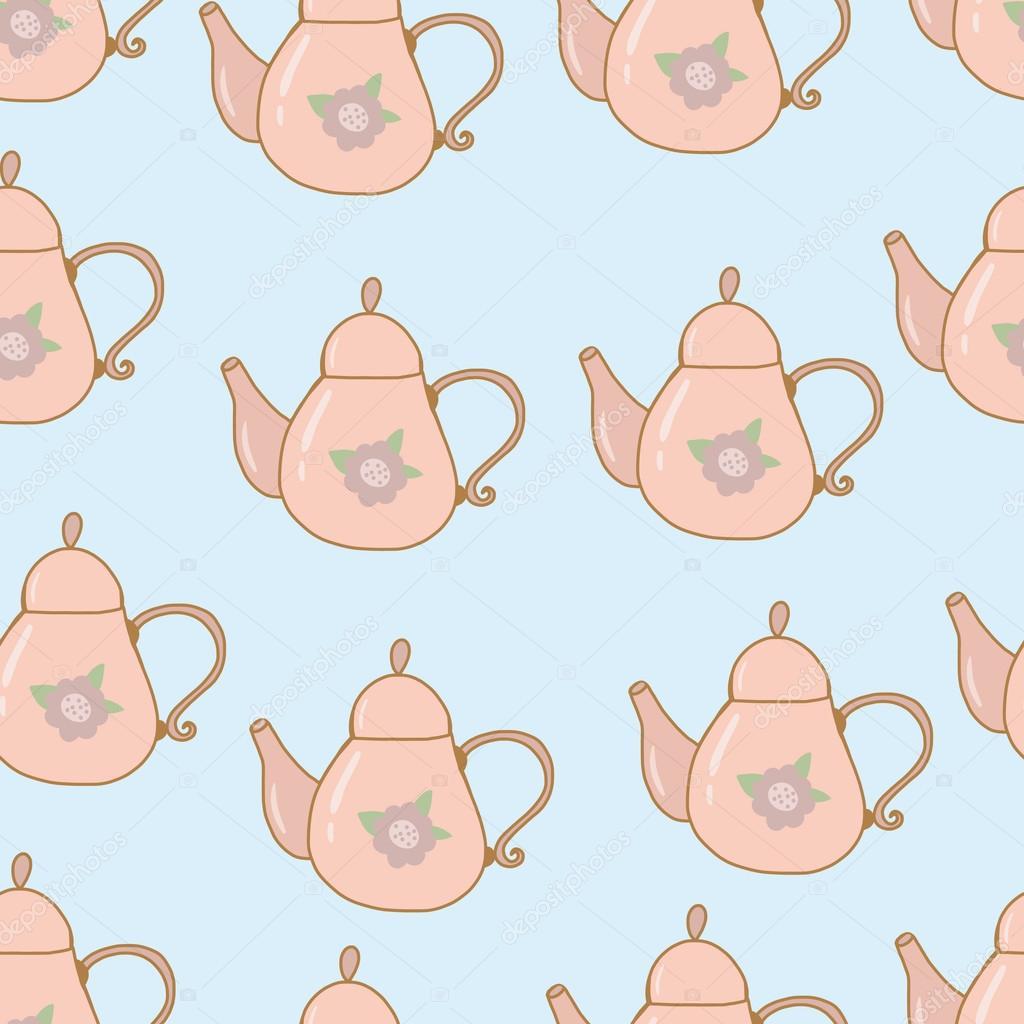 Teapot hand drawn seamless pattern shabby chic